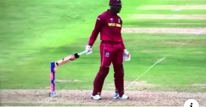 Oshane Thomas' bat touch the stump, but umpire could not give hit wicket