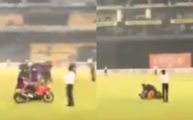 Kusal Mendis' bike slips while celebrating victory over Bangladesh