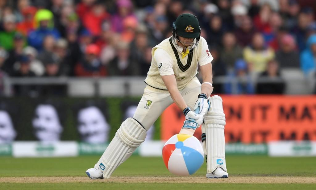 Steve Smith hit the beach ball to the boundary to make the crowd go ballistic