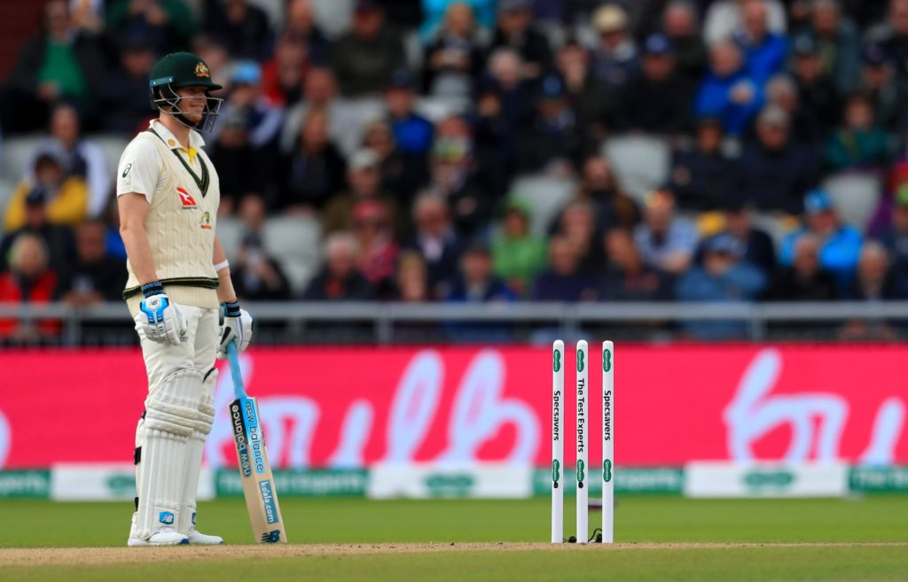 A Test match without any bails on either stumps
