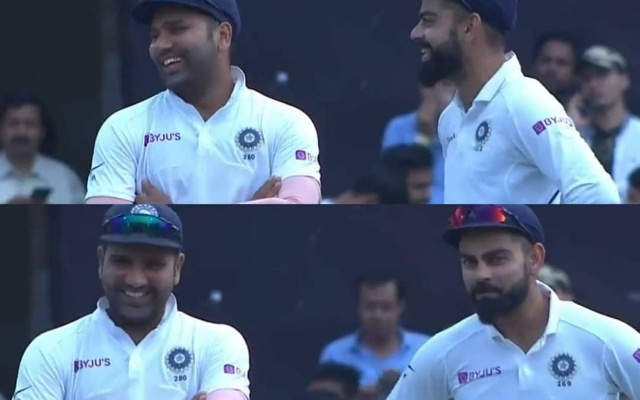 Rohit and Virat share a laugh during the third test