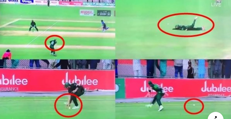 Three Pakistan players fail to stop the ball during the third ODI