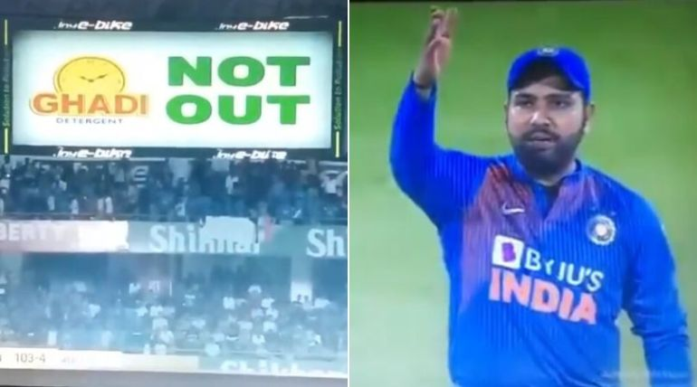 Rohit Sharma angry when the third umpire displays not-out