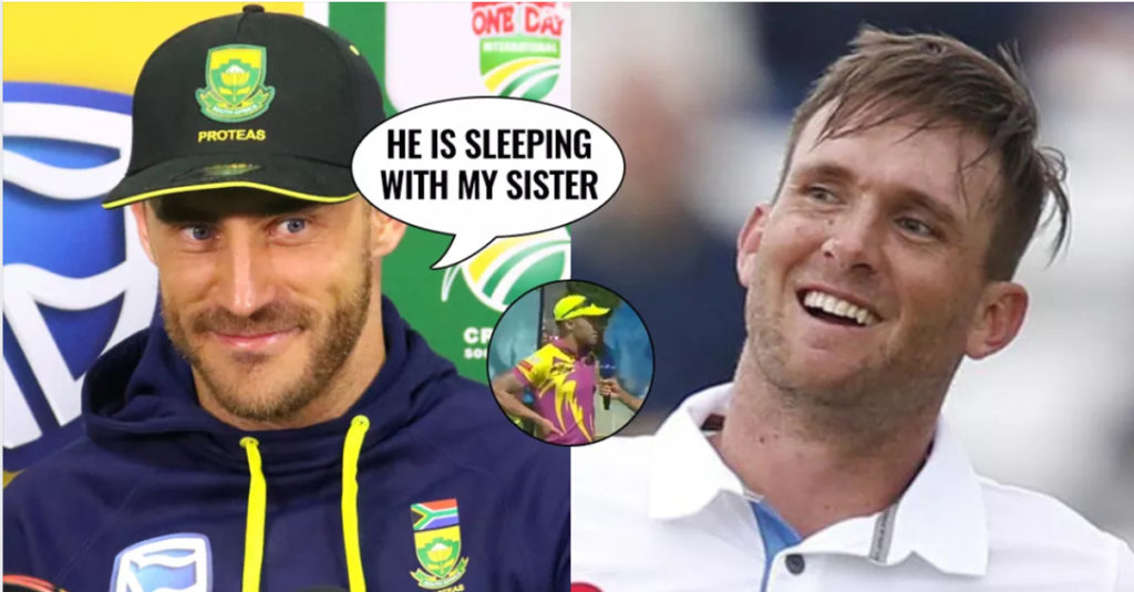 """""""Hardus Viljoen is not playing in this match, as he is lying in bed with his sister,"""" Faf told the presenter in MSL"""