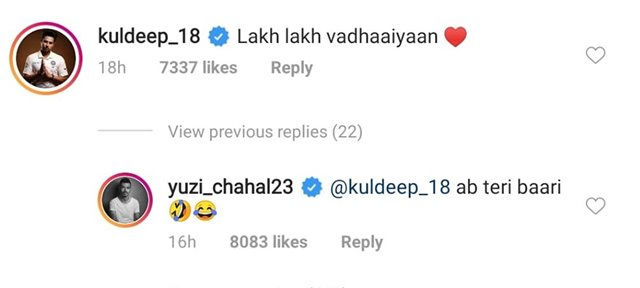 Yuzi trolls Kuldeep Yadav on Pandya's post