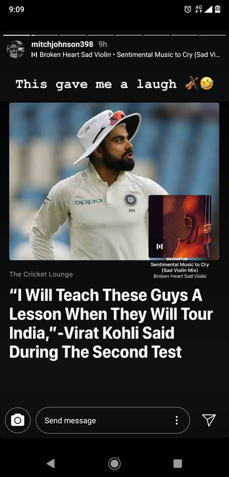 Mitchell Johnson takes a dig at Captain Virat Kohli for his comments from the slip