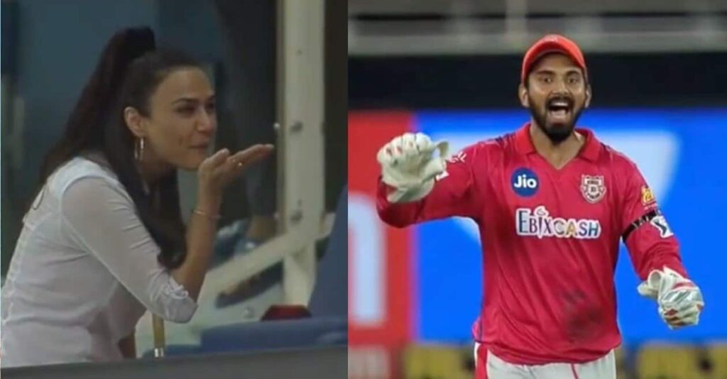 Preity Zinta celebrates the fourth straight win with a flying kiss