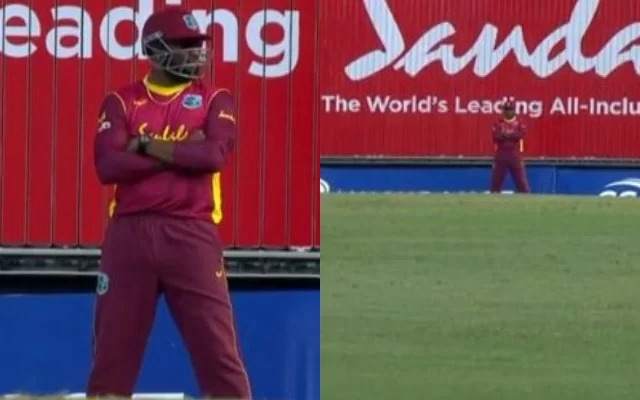 West Indies Team came up with 10 players for a free hit delivery