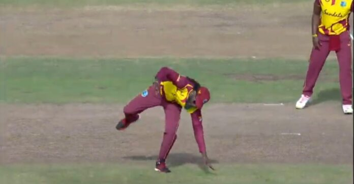 Chris Gayle's epic celebration while taking the wicket