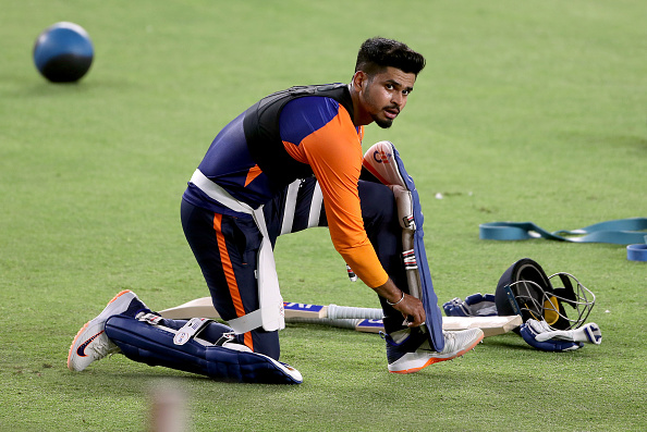 Shreyas Iyer hits a tremendous six in the practice session at ICC Academy Ground